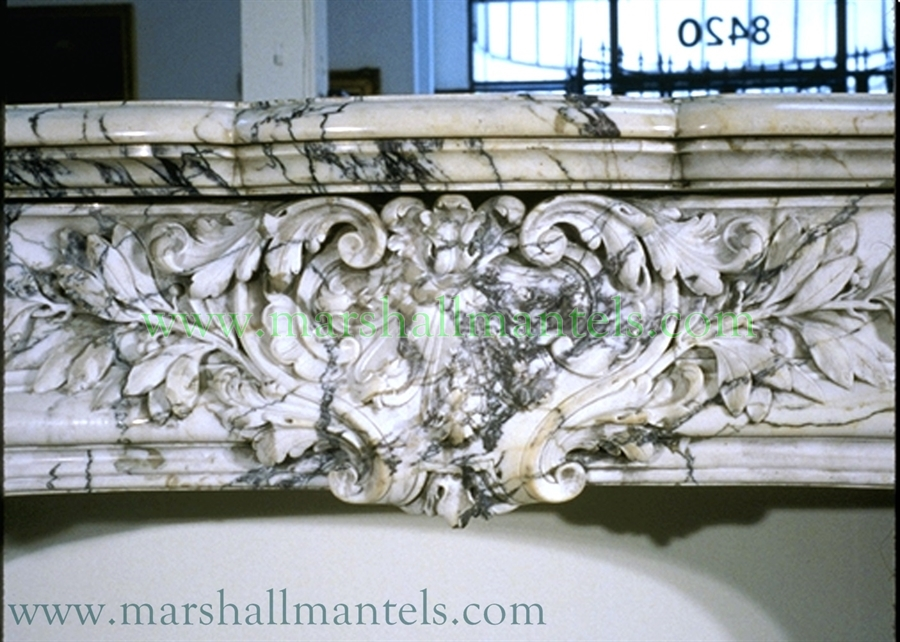Antique Regence / Louis XV Style Breche Violette Marble Fireplace Mantel  French   19th Century 51